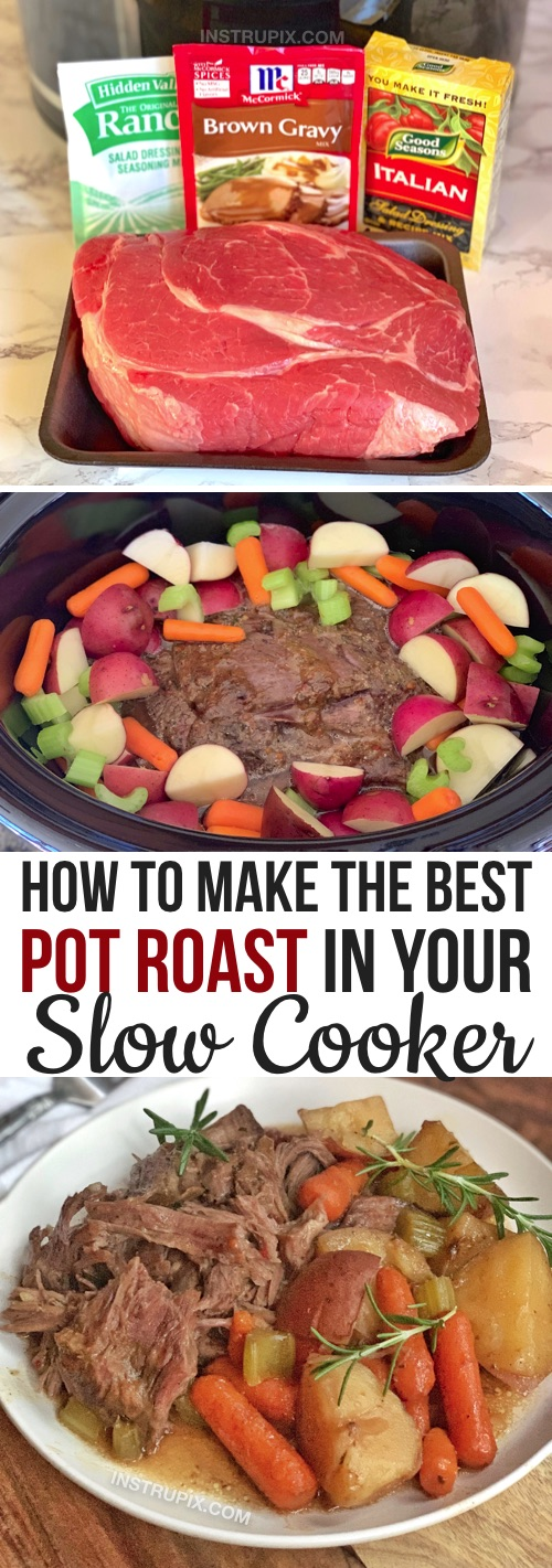 Looking for easy slow cooker dinner recipes? This easy crock pot pot roast is THE BEST recipe! It's super simple to make with just 4 ingredients (plus the vegetables of your choice: potatoes, carrots, celery, etc.). Made with gravy mix, ranch seasoning mix and dry Italian dressing. My favorite beef recipe for dinner! Even the kids love it.