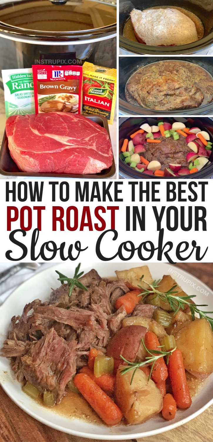 Looking for easy crockpot dinner recipes for the family? This easy slow cooker pot roast with vegetables is THE BEST! It's super simple to make with just 4 ingredients (plus the veggies of your choice). Made with gravy mix, ranch seasoning mix and dry Italian dressing, plus a little red wine if you have it. My favorite winter comfort food!