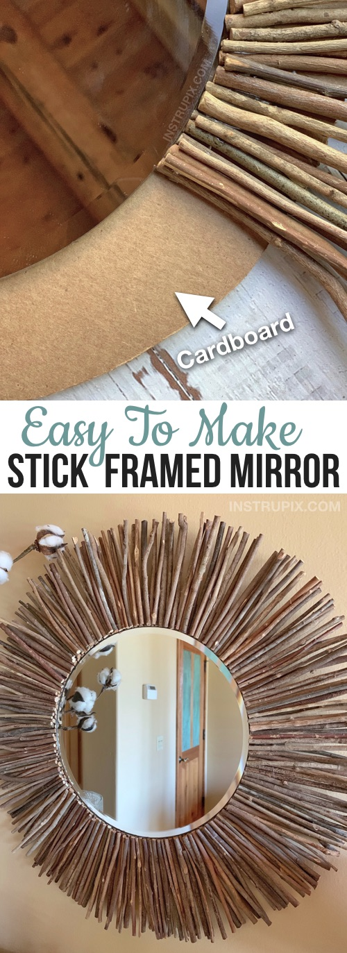 Cheap & Easy DIY Home Decor Idea -- Rustic Stick Framed Round Mirror Tutorial. A creative and easy craft project for adults to make! Budget friendly craft with just cardboard, sticks and glue.