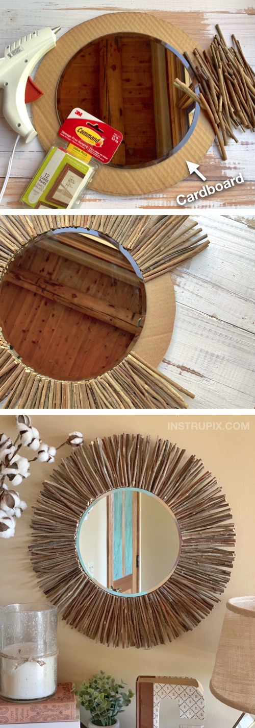 Cheap Easy Diy Stick Framed Mirror A Rustic Modern Home Decor Idea