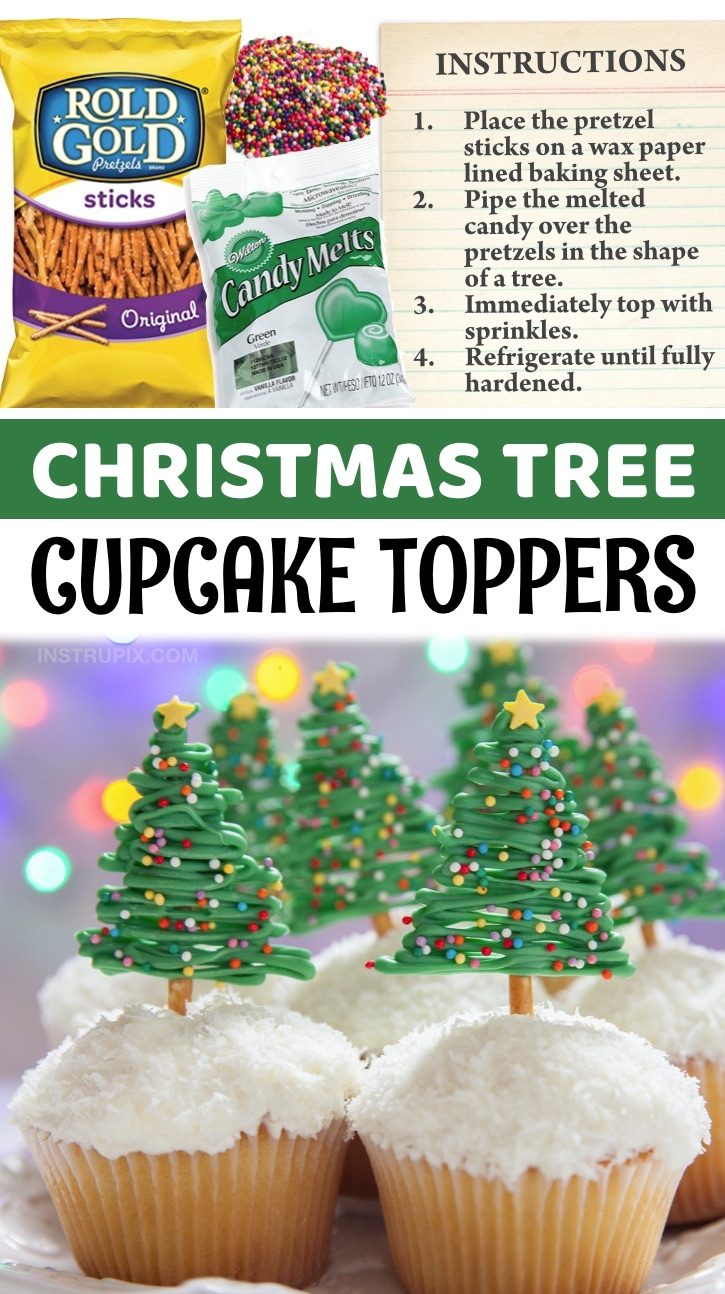 DIY Christmas Tree Cupcake Toppers - A super cute and easy Christmas dessert idea! Impress your guests with these fun and easy Christmas tree cupcake toppers made with just pretzel sticks, green candy melts and assorted sprinkles. Are you looking for quick and easy make ahead Christmas dessert ideas? These gorgeous cupcakes may look impressive but they're actually incredibly easy to make. In fact, you can buy the cupcakes at just about any grocery store, and then top the frosting with either shredded coconut or white sprinkles.