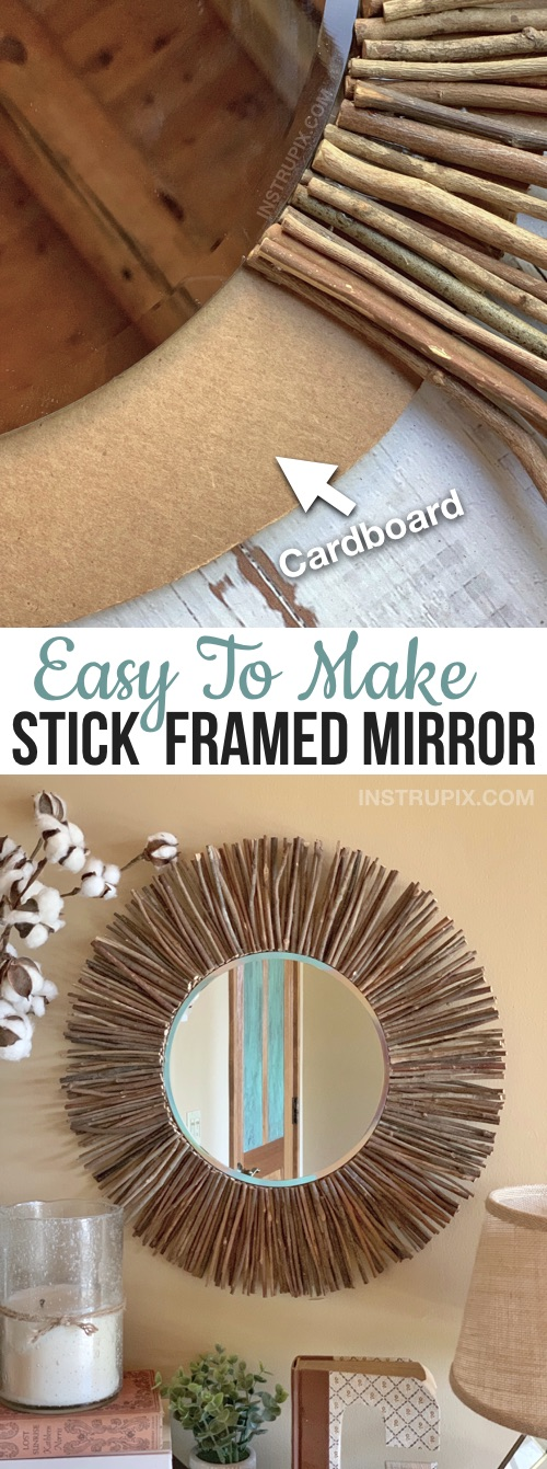 Craft Idea For The Home: DIY Stick Framed Mirror -- Creative and easy DIY home decor idea! Great for an entryway table, living room or bedroom! This simple project for adults is cheap and easy to make with just cardboard, glue and sticks.