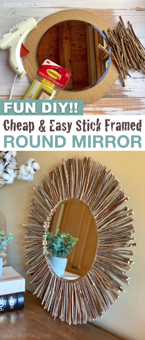 Looking for easy and cheap DIY home decor ideas? This stick framed round mirror doesn't get any more budge friendly and beautiful! You're just going to use cardboard, hot glue and sticks. A simple rustic yet modern home decor idea for your bedroom, bathroom, living room, entryway or apartment. The perfect wall decor for any room of the house. Great for a gallery wall combined with framed family pictures! If you're looking for easy craft and project ideas, this is the best simple decor for your walls.