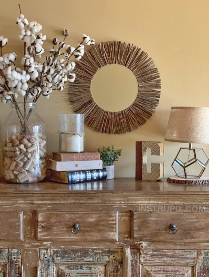DIY Stick Framed Round Mirror Home Decor Idea