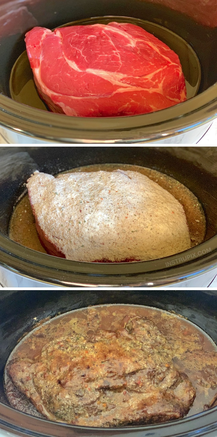Easy 4 Ingredient Slow Cooker Pot Roast Recipe -- a delicious crockpot dinner idea! Fabulous comfort food for cold winter nights.