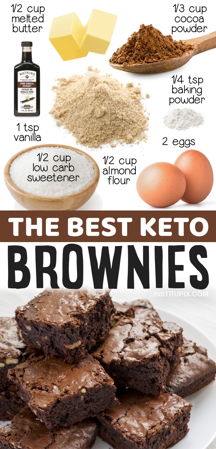 The great thing about these keto friendly brownies is that they are made with just a few pantry staples including almond flour, cocoa powder, vanilla, eggs and the low carb sweetener of your choice. So simple! If you're looking for quick and easy keto desserts to make, these low carb brownies are so moist and yummy! Make them with or without nuts. I'm always looking for easy sweet treats to make that fit into my keto diet, and I've made these amazing chocolate brownies so many times.