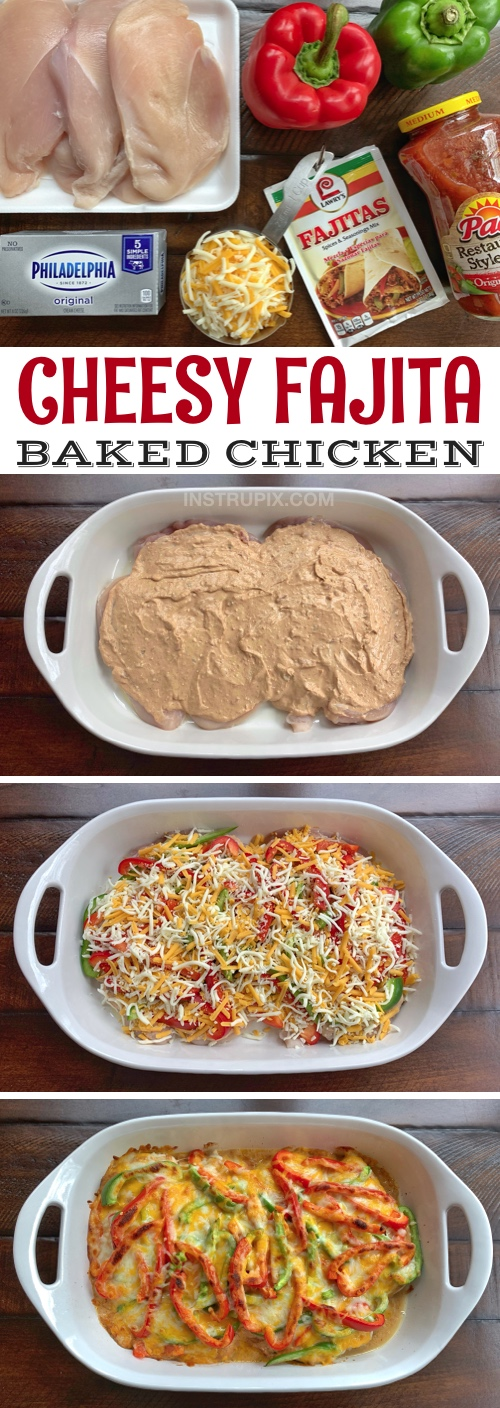 Low Carb Cheesy Fajita Baked Chicken Recipe -- A quick and easy dinner recipe for the family! It's cheap, simple, healthy and family friendly. Made with cream cheese, salsa and fajita seasoning. Yum! #instrupix