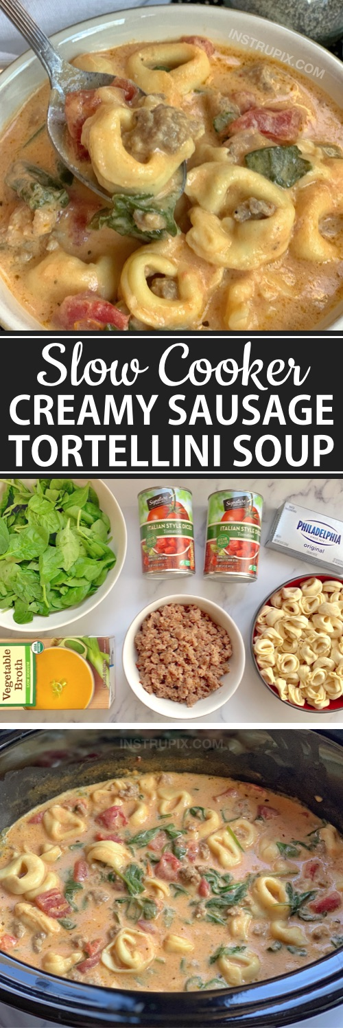 Easy Slow Cooker Soup Recipe made with tortellini, Italian sausage, spinach, cream cheese and tomatoes. If you're looking for simple dinner ideas for the family, this slow cooker meal is always a hit! #instrupix #crockpotrecipe