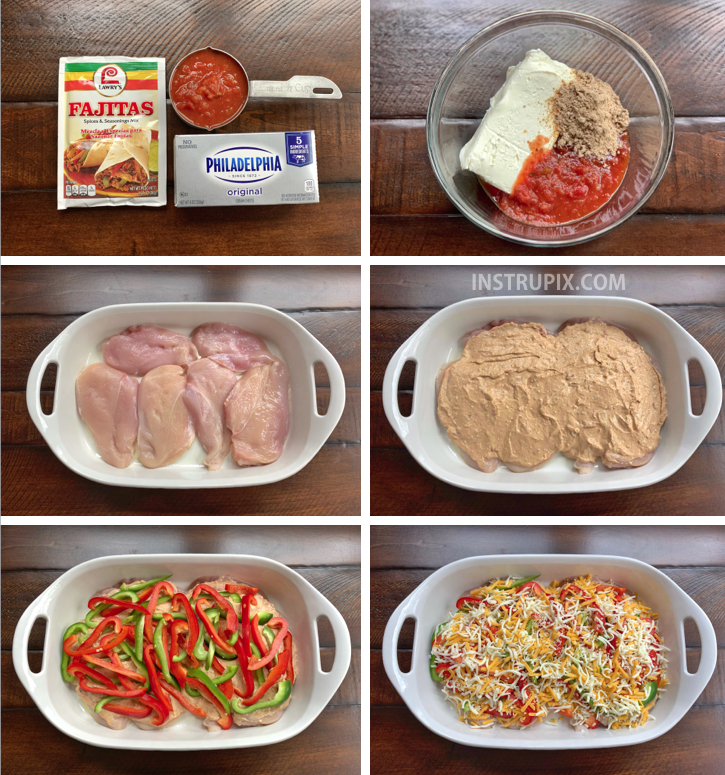 Step by step instructions for Cheesy Fajita Oven Baked Chicken -- A quick and easy dinner recipe for the family! Healthy, low carb and a breeze to throw together in just one pan.
