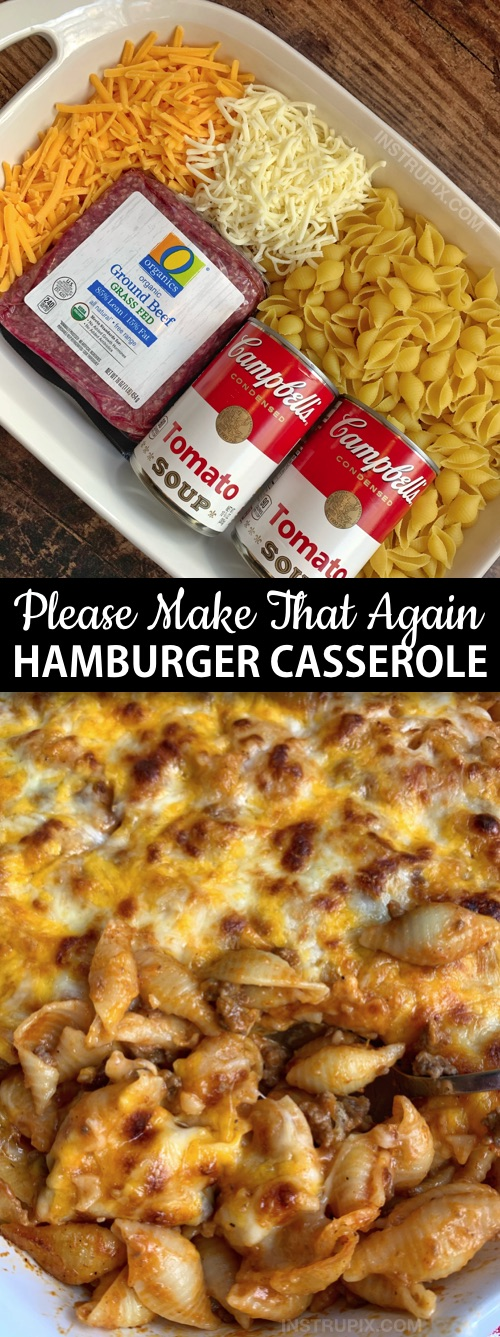 Looking for simple dinner recipes for picky eaters? This quick and easy hamburger casserole is made with just 4 ingredients: ground beef, tomato soup, pasta shells and cheese! It's perfect for busy weeknights, picky kids and large families. I'm always looking for easy budget friendly casserole recipes for dinner, and this one is very family pleasing! Kids and husbands love it. #instrupix #casseroles #dinnerrecipes