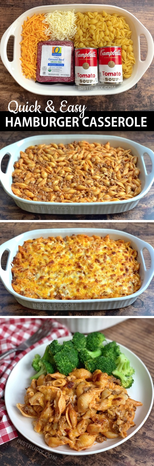 Looking for easy budget friendly dinner recipes for the family? This simple hamburger casserole is made with just 4 ingredients: ground beef, tomato soup, pasta shells and lots of cheese! It's perfect for busy weeknight meals, picky eaters and large families. I'm always looking for easy casserole recipe ideas for dinner, and this one is very family pleasing! Kids and husbands love it. #instrupix #casseroles #dinnerrecipes
