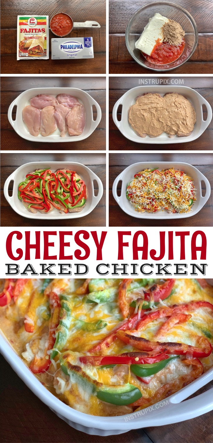 Looking for quick and easy chicken dinner recipes? This one pan oven baked cheesy fajita baked chicken is a fabulous family meal! It's healthy, low carb, keto friendly, cheap and still great for picky eaters! #instrupix