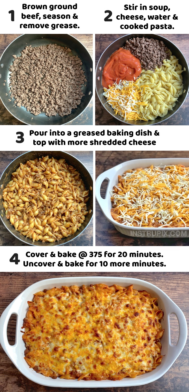 Seriously, the best ground beef dinner recipe for your picky kids! This simple weeknight meal is a life saver, and it's so quick and easy to make with just a few cheap ingredients: ground beef, tomato soup, pasta shells and lots of cheese. My entire family just gobbles it up. If you're looking for easy dinner recipes for your picky eaters, try this hamburger casserole! It's one of my most popular and best reviewed recipes. Perfect for busy moms and dads on a budget!