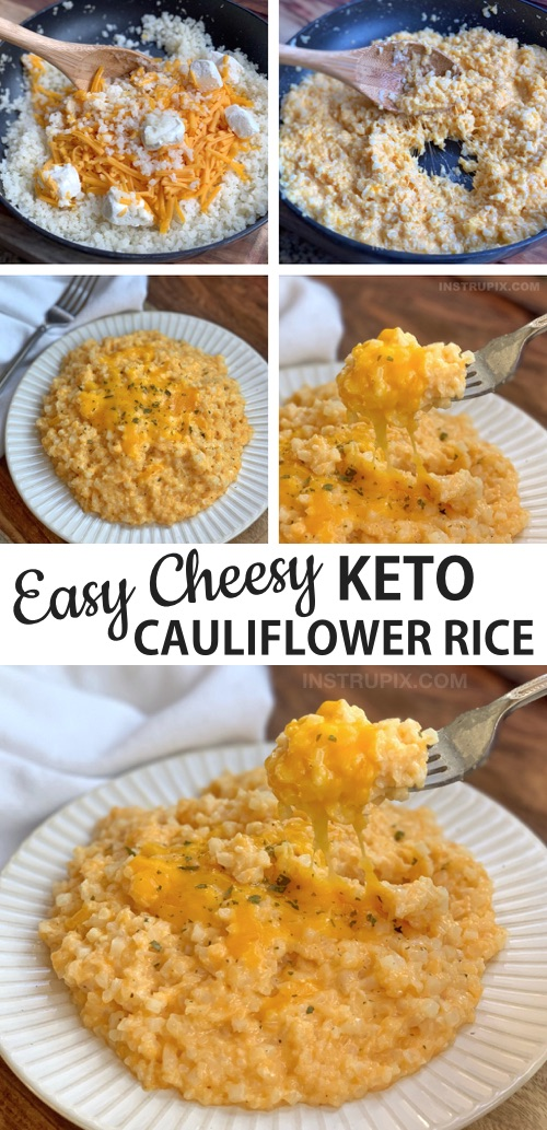Easy Cauliflower Rice Recipe (Keto and Low Carb) This simple cauliflower rice recipe is made with frozen cauliflower, butter, cream cheese, cheddar and milk! It's awesome served with chicken, steak or fish. Even my kids love it!