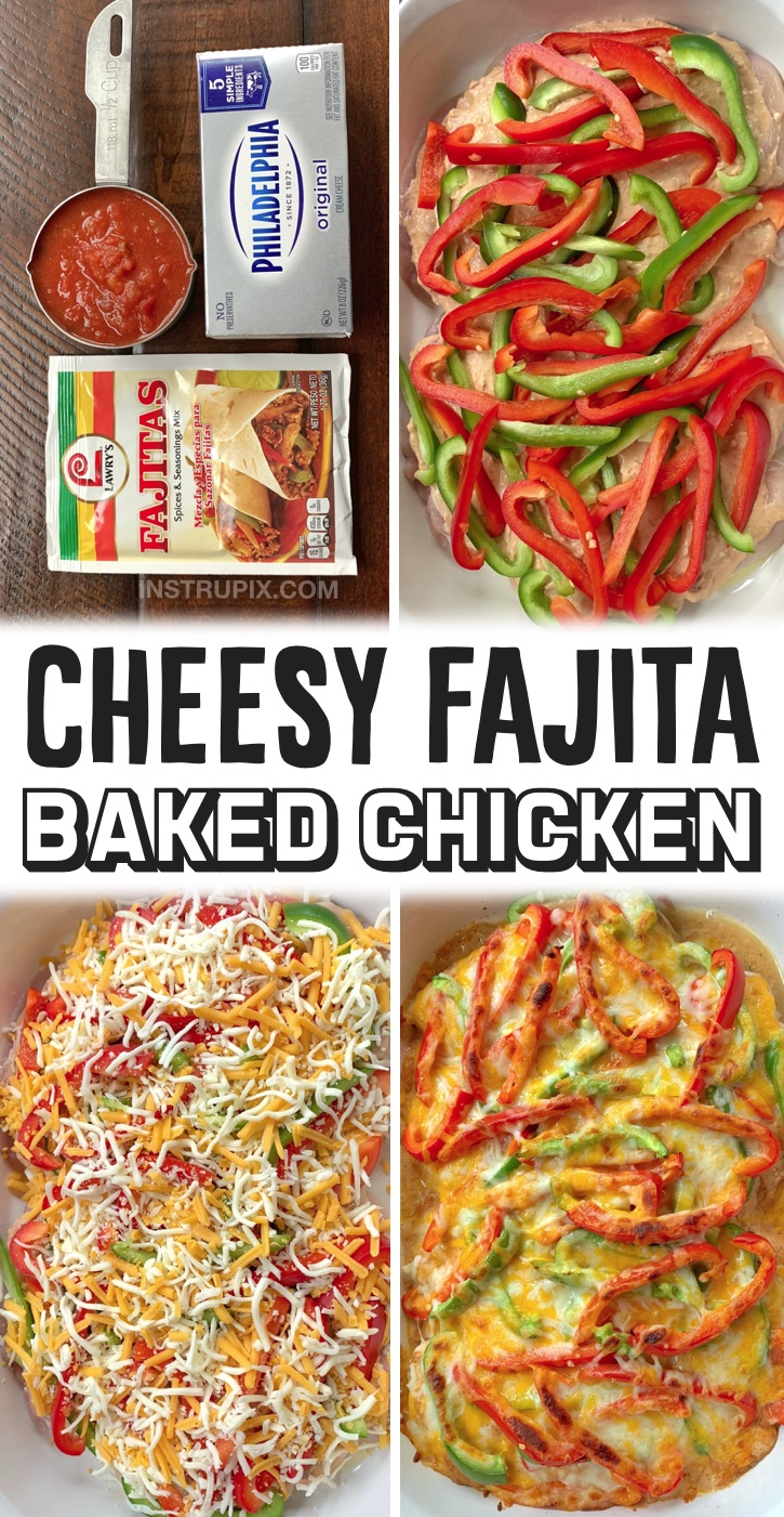 Looking for quick and easy chicken dinner recipes for your family? This is the BEST way to bake chicken breasts in your oven! Simply top them with a fajita seasoned cream cheese mixture, bell peppers and shredded cheese. Bake and enjoy alone or with rice, tortillas or anything else you'd like. This is such a simple meal that is perfect for busy weeknights. Plus it's low carb and pretty healthy! My entire family loves it, even my picky husband. Creamy Oven Baked Chicken Fajitas Recipe