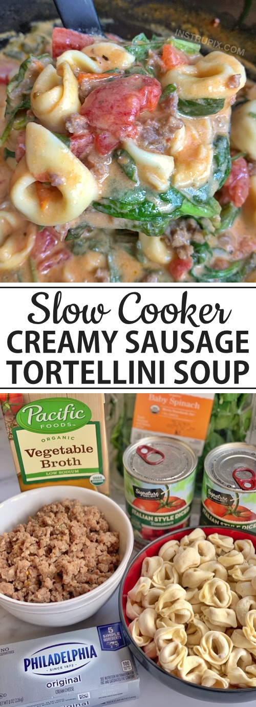 Cheap and easy crockpot meal for the family: Creamy Sausage & Tortellini Soup made in your slow cooker. Simple, easy and delish! Even kids love it.