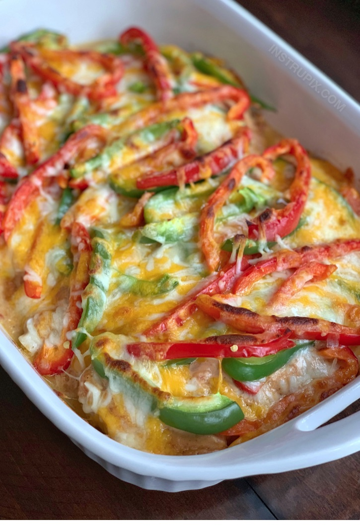 Cheesy Fajita Oven Baked Chicken Recipe - Quick, easy and low carb!