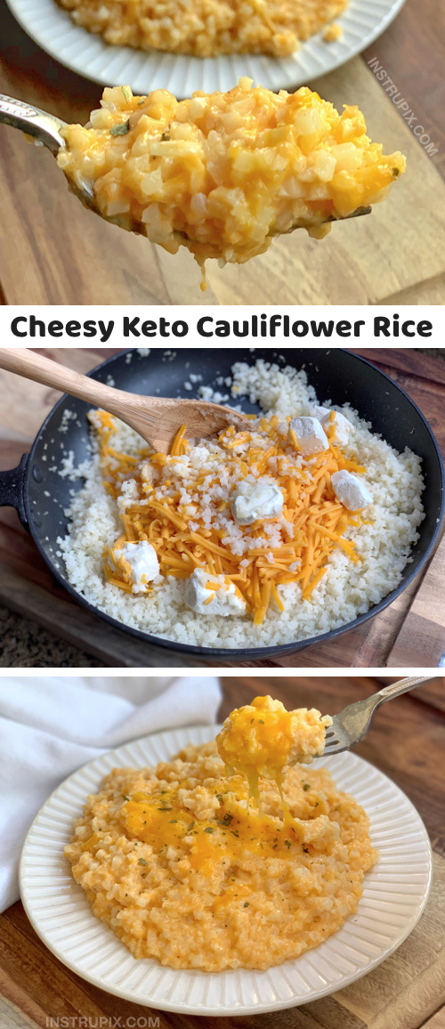 Looking for easy keto recipes to go with dinner? This quick and easy cheesy cauliflower rice is the best low carb side dish! It's made with 5 simple ingredients. I use frozen cauliflower rice to make it super easy! Great for beginners and busy weeknights. It's just as good left over. Serve it with chicken, steak, fish or pork. This keto cauliflower rice recipe is healthy and delicious. The entire family will love it! It's my favorite vegetable side dish for a ketogenic diet. #keto #lowcarb