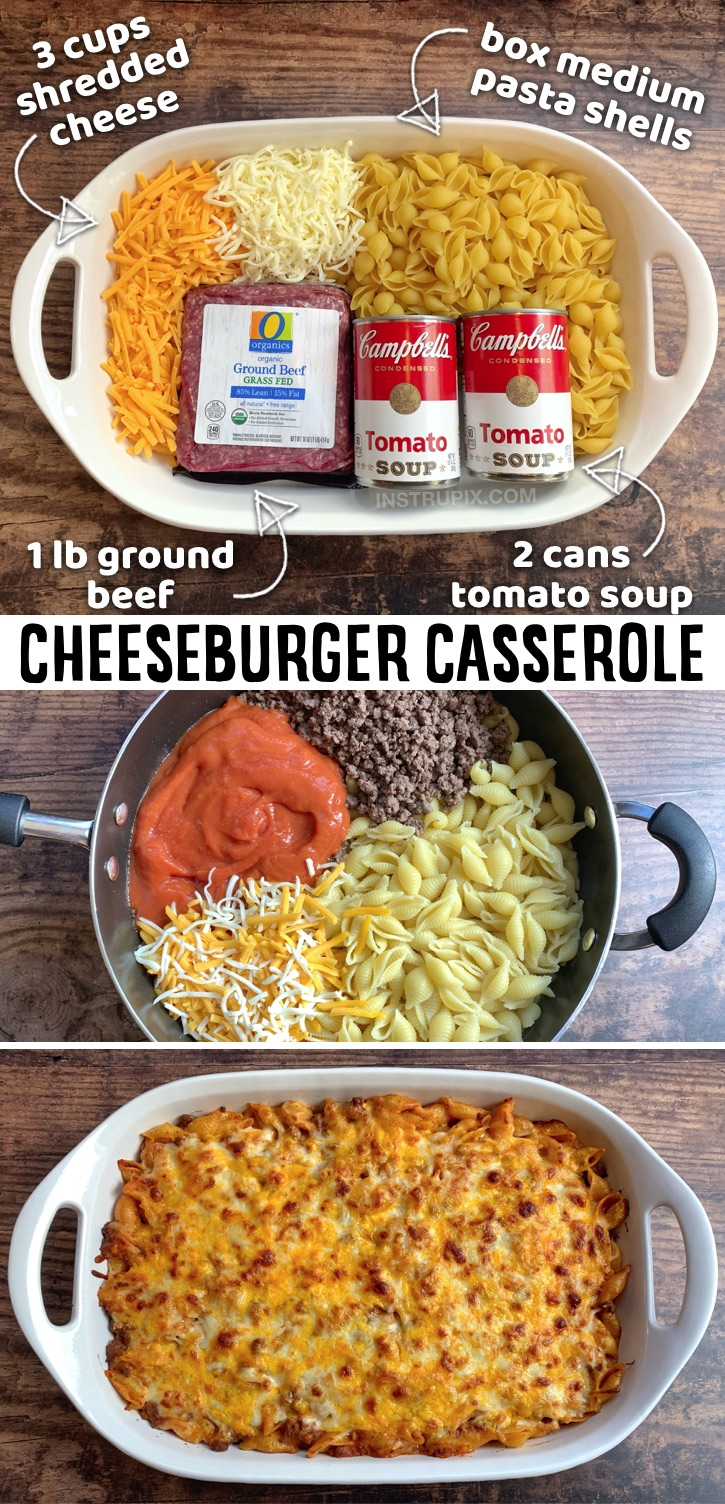 Calling all busy moms and dads! Do you have picky eaters? Your kids are going to love this cheeseburger casserole! It's made with just a few cheap ingredients: ground beef, tomato soup, cheese and pasta. My family devours it! It feeds a large family of 8, but is just as good for dinner the next day, so you can get 2 meals out of it. It's super budget friendly and delicious. Serve with a salad or side of veggies if you'd like. Great for last minute dinner ideas or busy weeknights.