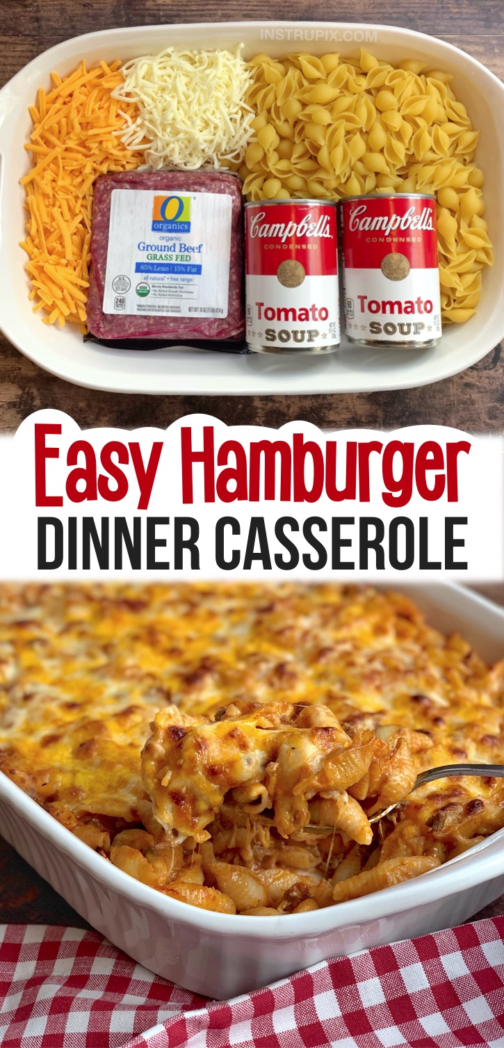 Looking for quick and easy family dinner recipes with kids? Even your picky eaters will beg for seconds! This cheap and simple meal is made with just a few ingredients: ground beef, tomato soup, pasta and cheese. Kids and teens of all ages will approve of this easy casserole recipe. It's perfect for busy weeknight meals when you're too tired and busy to cook. Just as good leftover for lunch or dinner the next day. A really easy dinner recipe made with ground beef. Husband approved, too!