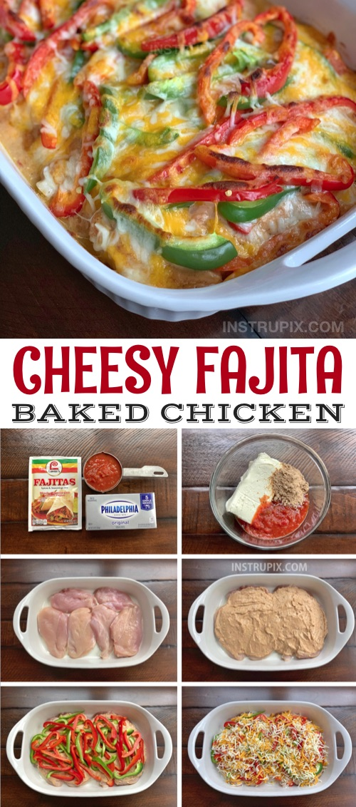Easy, healthy and low carb chicken dinner recipe for the family: Cheesy Fajita Baked Chicken-- serve it over rice or in a tortilla for the kids! It's simple and quick to make in just one pan! Made with cream cheese, salsa, fajita seasoning, bell peppers and cheese. #instrupix