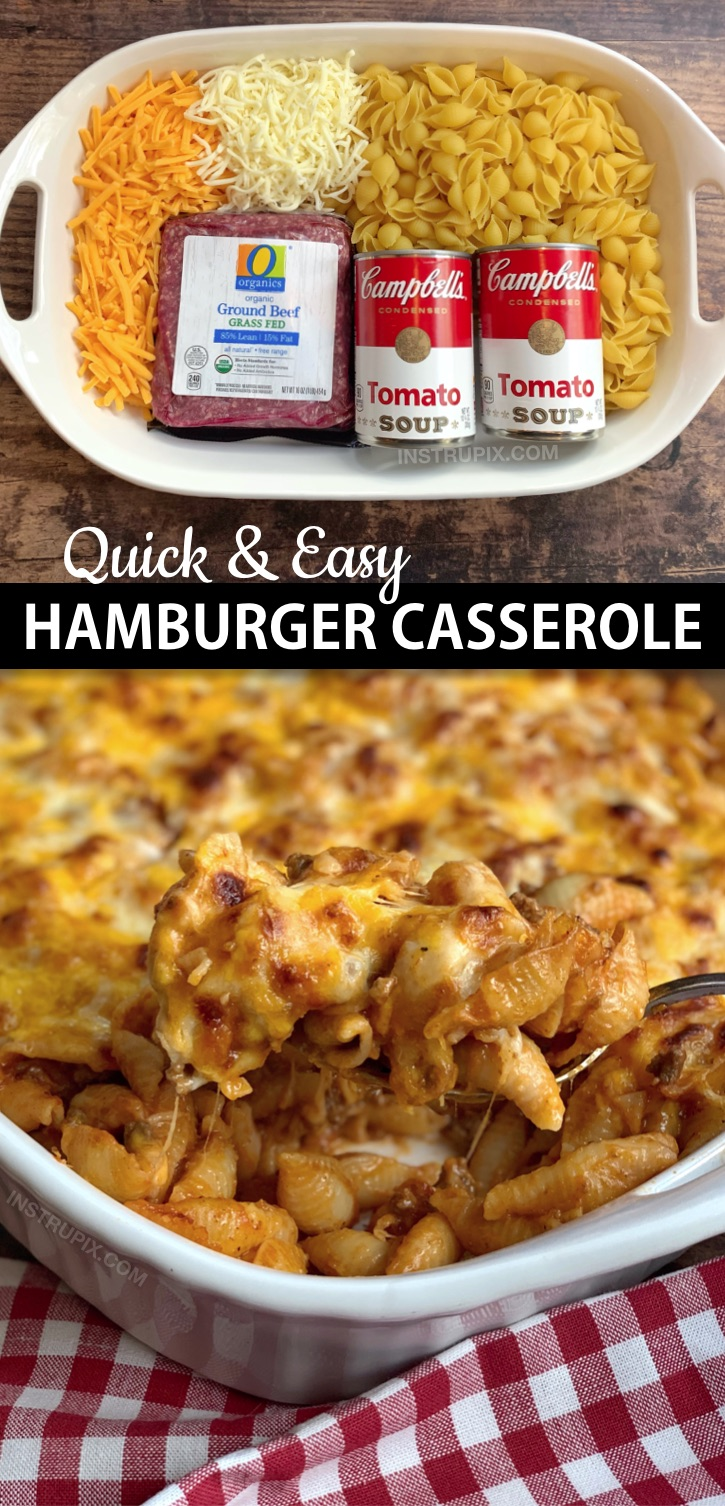 Looking for easy dinner recipes for the family? This simple hamburger casserole is made with just 4 ingredients: ground beef, tomato soup, pasta shells and cheese! It's perfect for busy weeknights, picky eaters and large families. I'm always looking for easy budget friendly casserole recipes for dinner, and this easy meal is very family pleasing! Kids and husbands love it. #instrupix #casseroles #dinnerrecipes