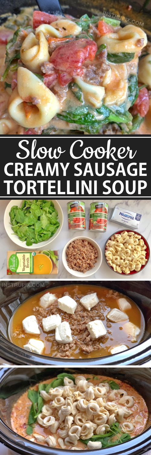Looking for easy crockpot dinner ideas for the family? This creamy tortellini and Italian sausage soup is great for large families! It's made with simple and cheap ingredients: sausage, frozen tortellini, cream cheese, broth, tomatoes and spinach.