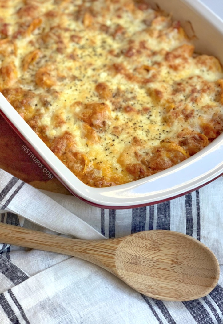 Easy dinner recipe made with ground beef! Cheesy Baked Tortellini.