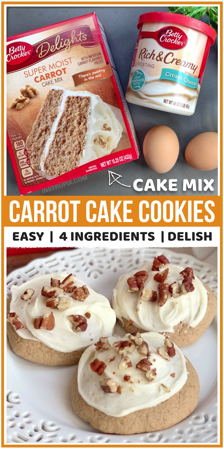 Looking for fun and unique cookie Ideas? These carrot cake mix cookies are made with just 3 ingredients plus store-bought cream cheese frosting. They are insanely good!! Perfect for Spring, Easter, parties and more. Top with pecans or walnuts for the finishing touch. If you like carrot cake, then you are going to love this easy dessert idea. It's much easier to serve at a party than traditional carrot cake. Kids and adults will love this sweet treat! #easter #carrotcake #cakemix #cookies