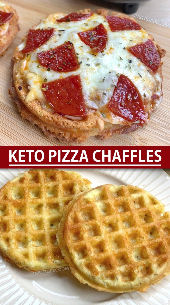 Keto & Low Carb Pizza Chaffles Recipe Made With Almond Flour. So crispy and simple to make! This is an easy keto dinner idea for beginners and the entire family will love them, even the kids! Simply make the crispy low carb pizza crust in a mini waffle maker and then bake in the oven with shredded cheese and toppings. #instrupix #chaffles