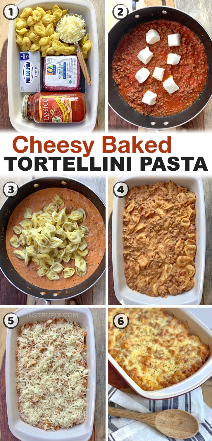 Cheesy Baked Tortellini Casserole With Meat Sauce - A quick & easy casserole recipe the entire family will love! If you're looking for cheap and easy dinner recipes for your family, this baked tortellini casserole is THE BEST simple weeknight meal for picky eaters! My kids and husband always go back for seconds. This simple ground beef and pasta dinner recipe is perfect for busy moms and dads, especially on hectic weeknights when that's all you want to do is eat and relax, and it makes enough for a large family or to have leftovers!