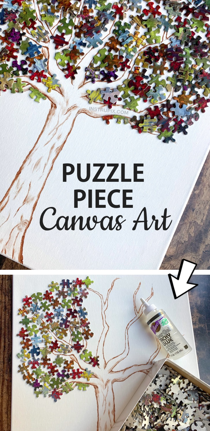 DIY Puzzle Piece Canvas Wall Art Project -- Simple Puzzle Leaf Tree. A cool and creative wall decor art idea! Awesome puzzle piece craft for teenagers and adults. This simple and cheap craft project is fun and creative for the home and won't cost much. A pretty cool recycling craft! If you're looking for simple puzzle projects, this one is easy and fun to make. #instrupix #craftideas #diywalldecor