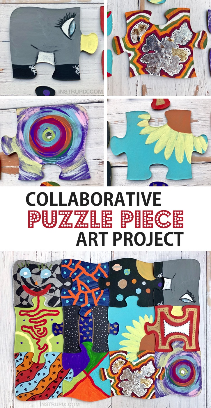 Collaborative Puzzle Piece Art Project -- A super fun and easy DIY family or school project to try! Perfect for a small groups of people. These puzzle crafts are great for kids, teenagers and adults! #instrupix #craftideas #projects