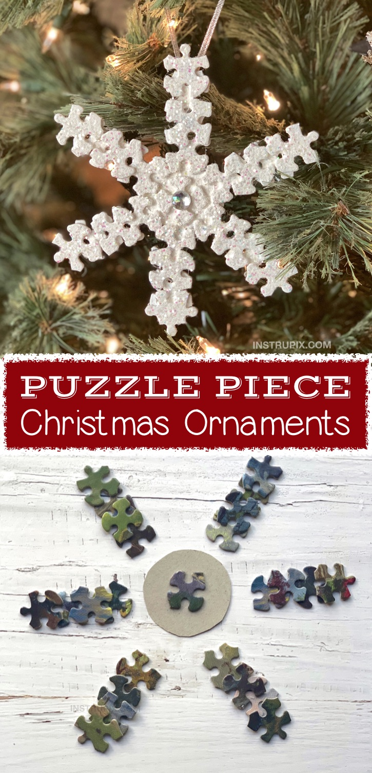 How To Make an Easy DIY Puzzle Piece Snowflake Ornament - plus other fun DIY puzzle piece craft ideas for kids, teenagers and adults. These simple projects are awesome for wall art, room decor, gifts and more. Fun and creative craft ideas to make! #instrupix #craftideas #christmas