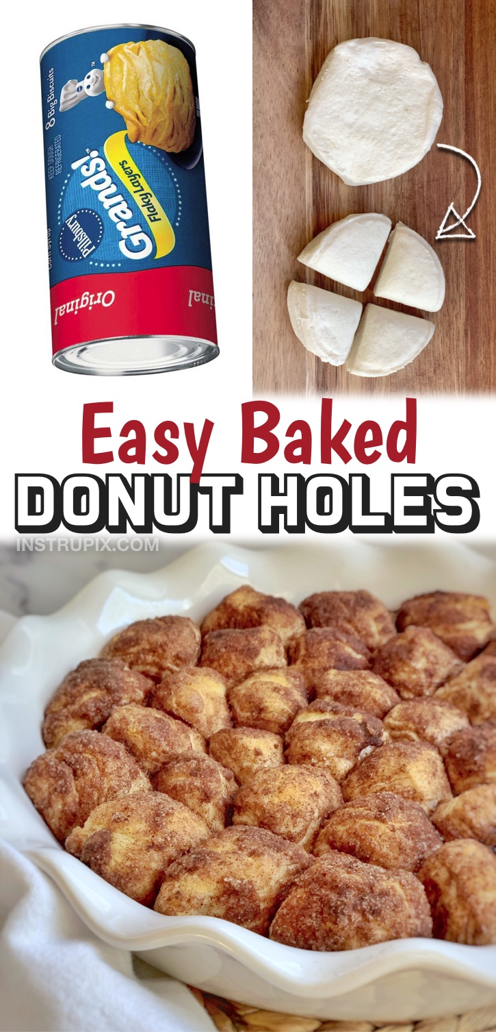 Homemade Oven Baked Cinnamon Sugar Donut Holes | This quick and easy dessert recipe (or breakfast idea) is made with just 4 simple ingredients. It doesn't get any lazier than this thanks to Pillsbury biscuits. They are perfect for lazy Sunday mornings at home or even an easy sweet treat. Kids love them! You simply cut the dough into quarters, roll them into balls, drench the dough in butter and then roll them in the cinnamon sugar mixture. Bake, & done! Great for special occasions and birthdays.