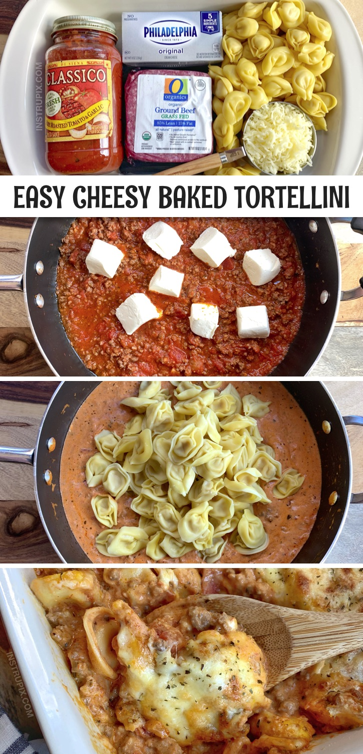 Looking for quick and easy casserole recipes for dinner? Cheesy Baked Tortellini With Meat Sauce -- A simple dinner idea made with ground beef! This cheap and simple weeknight meal is great for busy moms. Even your picky eaters will love this easy recipe, including the kids. The BEST dinner recipe for large groups or families with kids. #instrupix #casseroles #easydinnerrecipes
