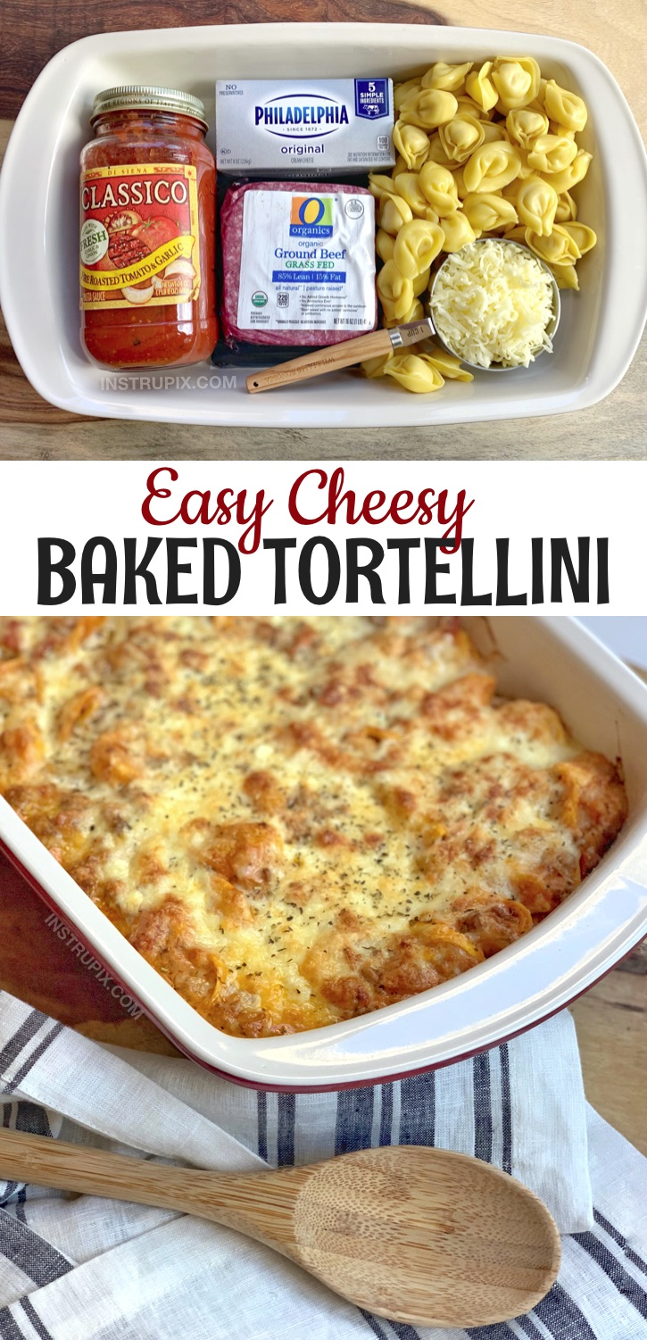 Looking for casserole recipes for dinner? Cheesy Baked Tortellini Casserole With Meat Sauce -- A quick and easy dinner recipe made with ground beef! This simple weeknight meal is great for busy moms. Even picky eaters will love it, including the kids. My favorite weeknight meal idea that can last up to 3 nights! #instrupix #casseroles #easydinnerrecipes