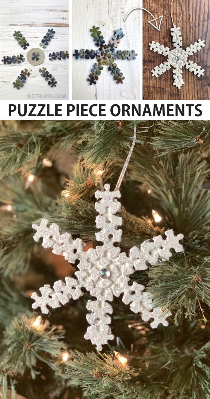 Easy DIY Puzzle Piece Snowflake Ornament Tutorial - plus other fun DIY puzzle piece craft ideas for kids, teenagers and adults. These simple projects are perfect for wall art, room decor, gifts and more. Awesome and creative craft ideas to try! #instrupix #craftideas #christmas