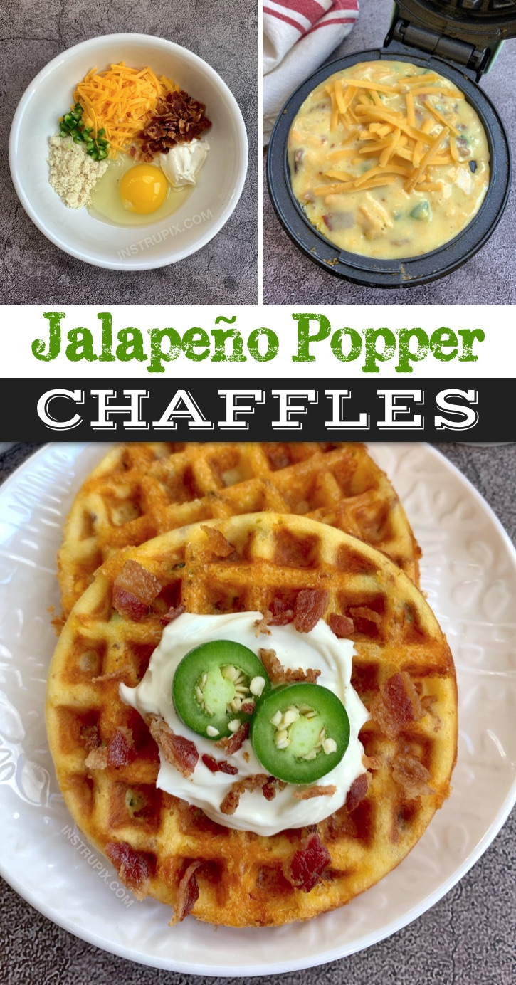 The BEST Savory Jalapeño Popper Chaffles Recipe -- Quick and easy! Keto and low carb crispy waffles made in a mini waffle maker with simple ingredients: almond flour, an egg, cheddar, cream cheese, diced jalapeño and crumbled bacon. My favorite savory chaffle recipe! Great keto recipe idea for beginners. #keto #chaffles #lowcarb #instrupix
