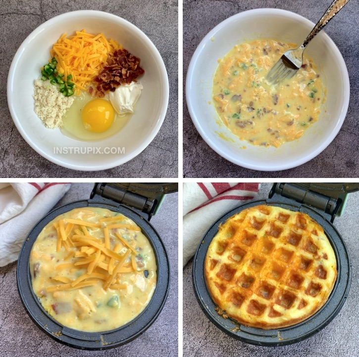 Quick and Easy Savory Jalapeño Popper Chaffles Recipe -- Keto and low carb crispy waffles made in a mini waffle maker with simple ingredients.
