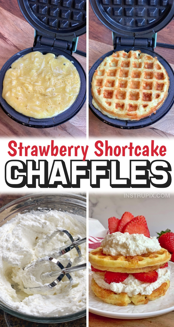A sweet & yummy keto chaffle recipe made with simple ingredients: cream cheese and almond flour. This quick and easy keto dessert recipe REALLY hits the spot, especially when you're craving something sweet and amazing. These low carb strawberry chaffles are just as delicious as they look, and made with cheap ingredients like almond flour and cream cheese. If you're looking for easy keto treats, try these keto friendly strawberry chaffles!