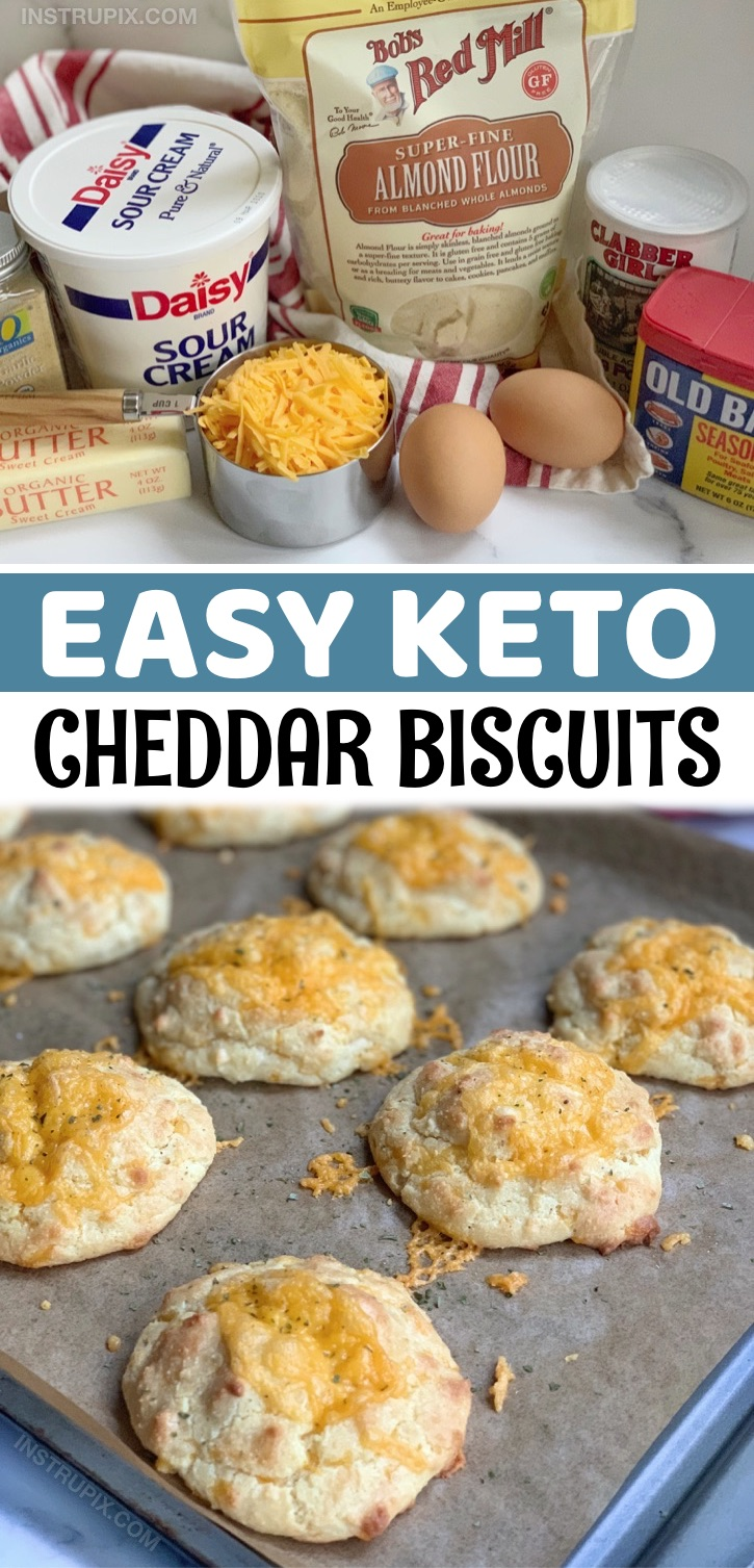 Easy Keto Almond Flour Cheesy Biscuits Recipe - This quick and easy keto biscuit recipe is made with simple low carb ingredients that you probably already have stocked in your pantry. The almond flour, sour cream and cheddar makes this simple recipe so hearty and delicious. I'd venture to say they're even better than regular cheddar bay biscuits from Red Lobster. Super moist and delicious! Eat these heavenly biscuits alone as a savory snack or enjoy them as a low carb side to any keto friendly meal like soup or salad.