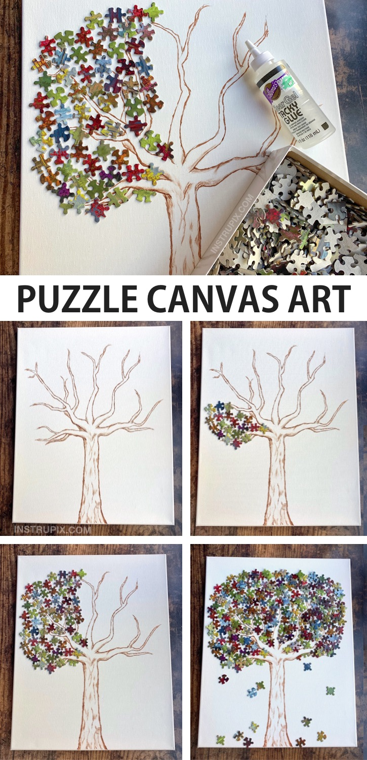 Simple Puzzle Piece Canvas Art Project -- DIY Puzzle Tree. A fun and creative wall decor craft idea to try! Awesome puzzle piece canvas art project for teenagers and adults. This simple and cheap activity is fun and creative for the home and won't cost hardly anything. A pretty cool recycling craft! If you're looking for simple puzzle projects, this one is easy and fun to make. #instrupix #craftideas #diywalldecor