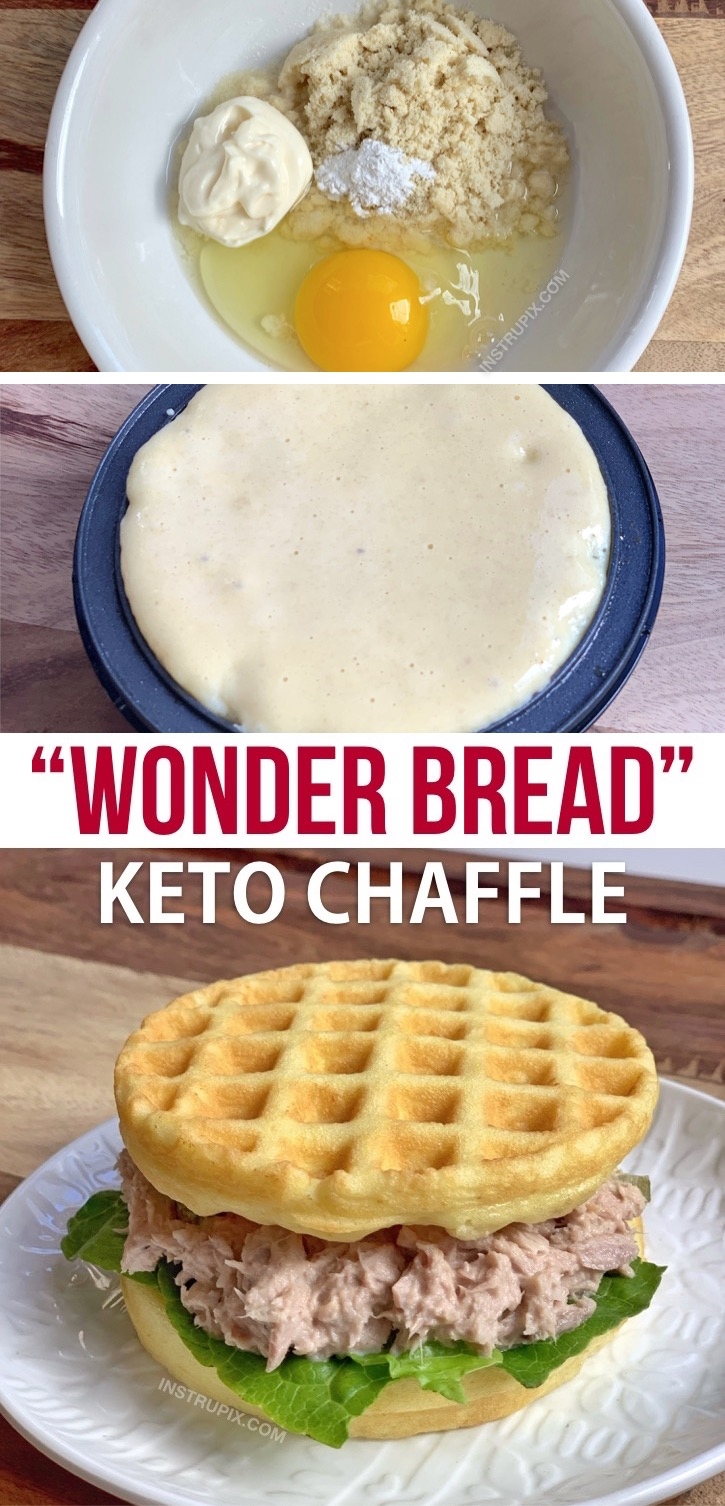 Looking for quick and easy keto chaffle recipes for sandwiches or burgers? This simple Wonder Bread chaffle recipe is made with NO CHEESE. So, not really a chaffle at all! It's made with almond flour, mayo, an egg and baking powder. Incredibly easy to make in your mini waffle maker. Low carb, ketogenic, atkins approved, soft and delicious! You won't miss bread anymore. This keto recipe is perfect for beginners or anyone too busy to bake. Add it to your meal plan! #instrupix #keto