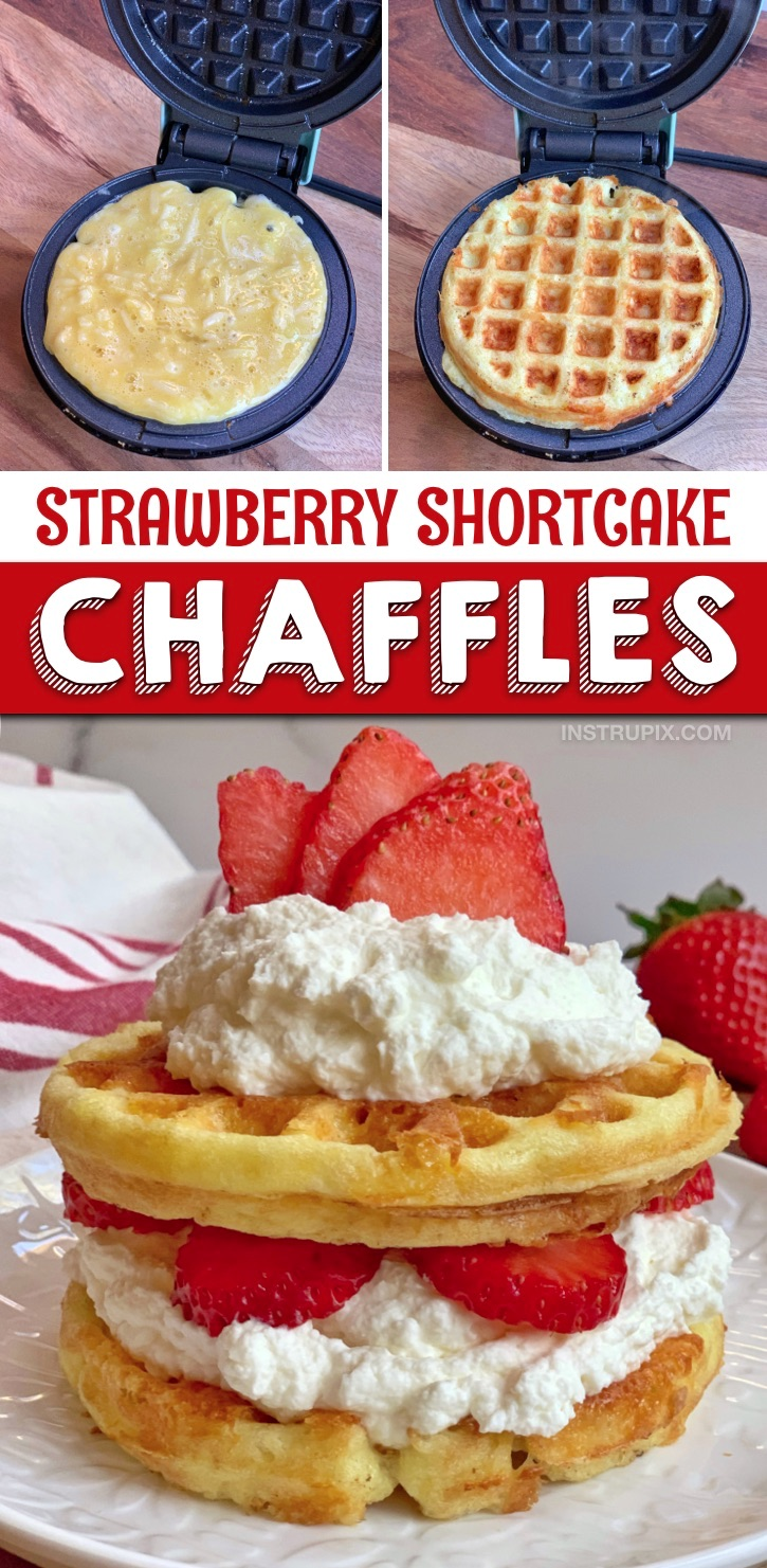 Looking for quick and easy sweet keto chaffle recipes? These keto strawberry shortcake chaffles are so simple to make in your mini waffle maker with cream cheese and almond flour. The BEST keto and low carb dessert recipe for one! Keto friendly, low carb and atkins approved. Yum! #instrupix #keto #chaffles