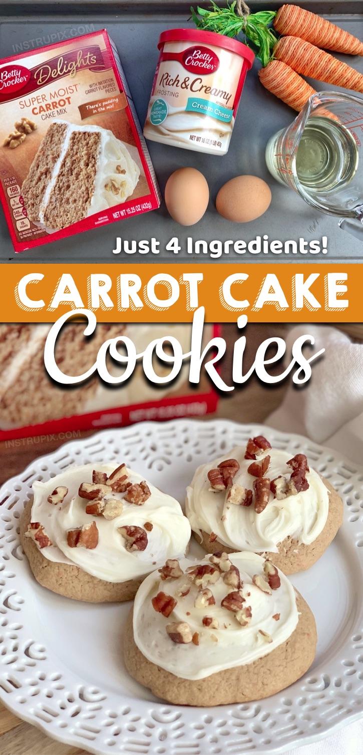 Looking for quick and easy cookie recipes? These are the BEST cookies made with 4 ingredients! These Carrot Cake Mix Cookies With Cream Cheese Frosting are made with simple and cheap ingredients:Betty Crocker cake mix, eggs, oil and frosting. These fun and unique cookies from cake mix are the perfect Easter party or potluck dessert idea! Great for any spring party or get-together. Kids and adults will love them! #instrupix