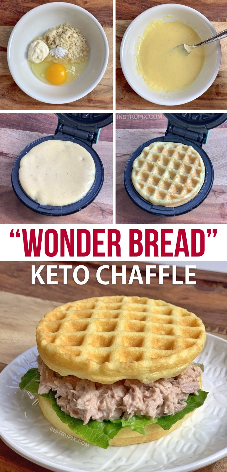 Easy Keto Wonder Bread Chaffle Recipe made with almond flour, mayo, an egg and baking powder! Quick, easy, simple and delish! This keto soft white bread is a breeze to make in your mini waffle maker. If you're looking for keto waffle sandwich bread, this is the only recipe you need! #keto #lowcarb #chaffles #wonderbread #instrupix