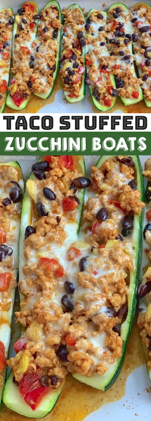 Looking for quick and easy healthy dinner recipes? Low carb stuffed zucchini boats are my favorite simple meal! This healthy dinner idea is made with just zucchini, ground turkey, black beans, bell pepper, cheese, salsa and taco seasoning. Stuff, bake and eat! This is the perfect low carb clean eating dinner recipe for two (with leftovers), and plenty for the family with a little rice on the side. Even your picky eaters will love these zucchini boats. They're budget friendly, too. #instrupix