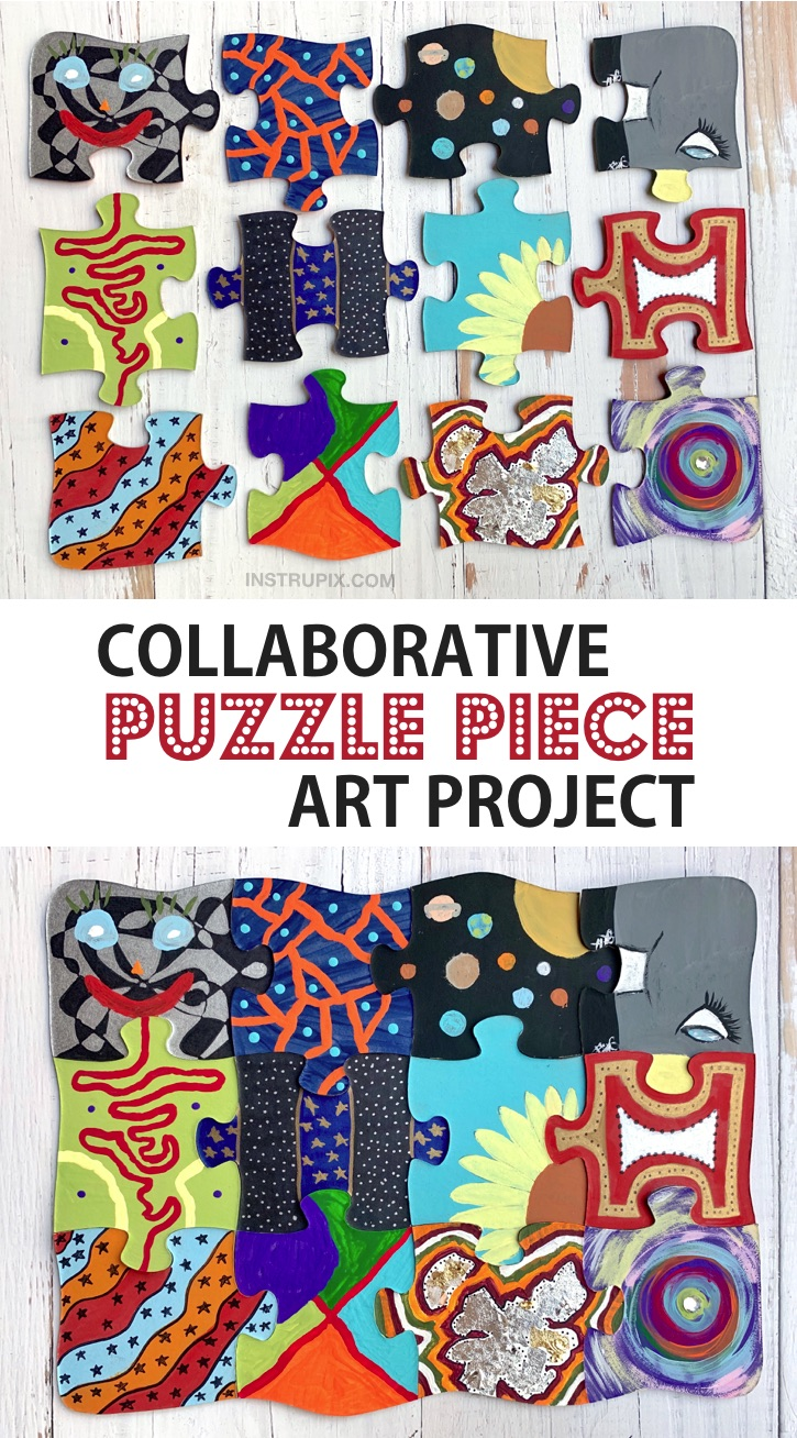 Collaborative Puzzle Piece Art Project -- A super creative and easy DIY school or family project to make! Awesome for a small groups of people. These puzzle crafts are fun for kids, teenagers and adults! #instrupix #craftideas #projects