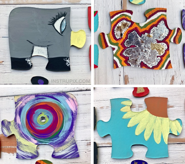 Collaborative Puzzle Piece Craft Idea -- A fun and easy projects for the family or school! Perfect for small groups of people.